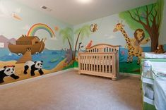 Emma's Ark and Jungle Nursery Wall Mural: Our goal for our baby girl's nursery…
