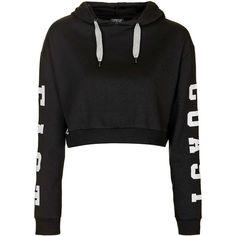 TopShop East Coast Cropped Hoodie (£28) ❤ liked on Polyvore featuring tops, hoodies, black, hooded crop top, embroidered hoodies, black hooded sweatshirt, cropped hoodies y cropped hooded sweatshirt