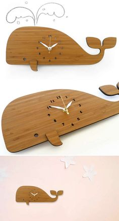 Wooden Whale Wall Clock Wooden Clock Plans, Kitchen Wall Clocks, Unique Wall Clocks, Large Clock, Laser Cut Wood, Unusual Gifts, Wood Crafts, Whale, Bamboo