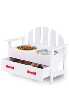 Adirondack chair-style feeder with two bowls and a pull-out drawer to store treats and pet accessories