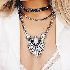 Art Deco Style Statement Necklace - #fashion #fashionista #jewelry #ootd - 23,90€ @happinessboutique.com