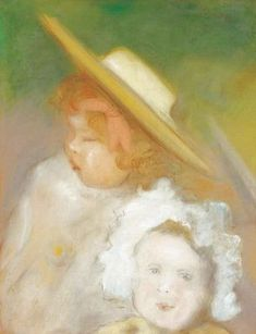 Rippl Two Children - Category:Pastels by József Rippl-Rónai - Wikimedia Commons Girls Dress Up, Green Hats, Second Child, Wikimedia Commons, Female Portrait, Wearing Black, Hats For Women, Pastels, Black Hair