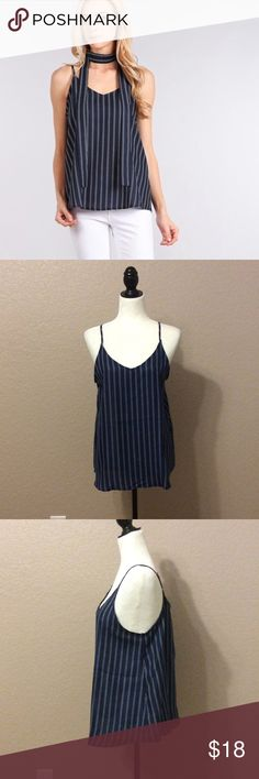 """Naomi Striped Tank Top Navy and white striped waist length top  Relaxed style with adjustable spaghetti straps   Lightweight, Unlined  Can be worn with or without scarf as a choker  100% polyester  Model is 5' 7"""" wearing a small. Measurements 34Cx24x33  Small - 2/4, Medium - 6/8, Large - 10/12 Tops Tank Tops"""