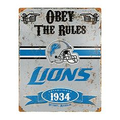 Party Animal NFL Embossed Metal Vintage Detroit Lions Sign >>> Read more reviews of the product by visiting the link on the image.