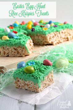 Inspired by a favorite springtime tradition, these fun & easy to make Easter Egg Hunt Rice Krispies® Treats are a must-make for your Easter celebration. #ad @ricekrispiesusa