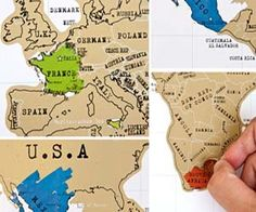"""World Traveler Scratch Off Map - """"Have fun keeping track of all the places you've traveled to with this scratch off world map. Any place you've traveled to you get the satisfying pleasure of scratching off and revealing some colored geography. This scratch off map makes a cool gift for people who love to see the world."""" would love it in just the US. My world map would stay very brown"""
