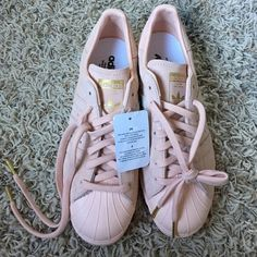 Custom suede blush pink shelltoe adidas superstars Brand new with box. Mens size 7.5 Adidas Shoes Athletic Shoes