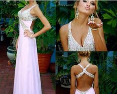 Pretty Long Pink Cross Back Beadings Prom Dresses 2016, Simple Prom Dresses, Long Prom Dresses, Evening Gowns