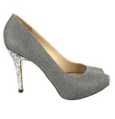 Zapato peep toe de tacón alto con plataforma, en tono Plomo. Perfectos para ocasiones de fiesta. Ref.6737 //High heel peep toe shoe with platform, in Pewter colour. Perfect for party occasions. Ref.6737