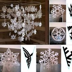 Wonderful DIY Pretty Paper Snowflake Mobile From Template