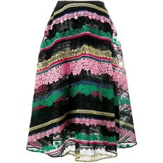 Valentino Valentino Striped Embroidered Midi Skirt (62,880 CNY) ❤ liked on Polyvore featuring skirts, saias, multicolour, cotton midi skirt, striped midi skirt, cotton skirts, cotton a line skirt and striped a line skirt