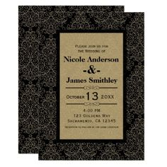 Gold & Black Damask Art Deco Glamour Chic Wedding Card - wedding invitations diy cyo special idea personalize card