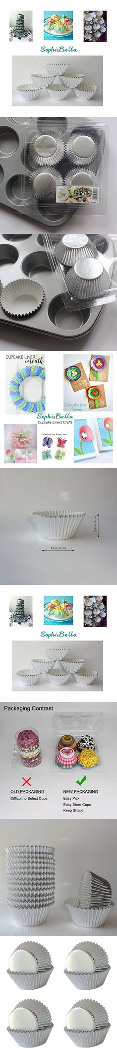 SophieBella Silver-Foil Cupcake-Liners Paper-Baking-Cups for pcs,Regular Size
