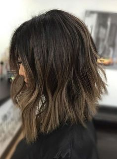 Dark brown short hairstyles 2017 ideas with ash brown balayage
