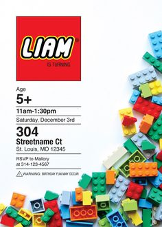 Custom made personalized Lego birthday invitation. Perfect for any Lego lover!  Digital PDF or JPG sized 5x7 will be emailed to client. Upon ordering, please provide party details and email address to send final file. Client responsible for printing.  Please message me with any questions! Thank you