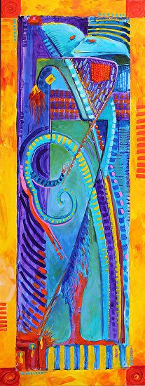 "Bird Totem 1 by Nancee Jean Busse Acrylic ~ 60 x 27.5Contemporary Abstract Bird Painting ""Bird Totem 1"" by Colorado Artist Nancee Jean Busse, Painter of the American West"