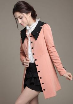 Pink Contrast Lapel Long Sleeve Slim Trench Coat