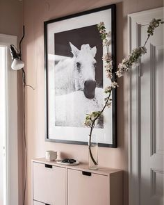 Flower power and one Ikea-hack worth mentioning. Paint you shoe cabinet STÄLL in the same color as your walls. Perfect for a narrow space. Styling and design Photo Ikea Hacks, Hallway Decorating, Entryway Decor, Flower Power, Hallway Paint Colors, Upstairs Hallway, Shoe Cabinet, Interior Styling, Interior Design