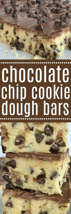 If your favorite part of making cookies is the dough then you will LOVE these no bake chocolate chip cookie dough bars! Such a fun & sweet dessert recipe that will satisfy any sugar or cookie dough craving | www.togetherasfamily.com