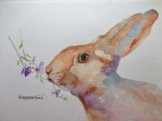 Watercolor Bunny Watercolor Rabbit Original by BarbraJoanOriginals