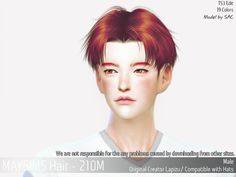 Hair (Lapizu) - The Sims 4 Catalog Sims 4 Hair Male, Sims Hair, Male Hair, Sims 4 Cas, Sims Cc, Sims 4 Couple Poses, Parting Hair, Medium Hair Styles, Short Hair Styles