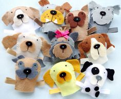 Felt Dog Finger Puppets Sewing Pattern PDF by preciouspatterns