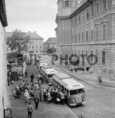 1952. Eger, Fellner Jakab úti régi buszpályaudvar Long Time Ago, Hungary, Street View, Retro, City, City Drawing, Cities, Mid Century