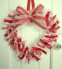 Celebrate Valentine's Day with 12 craft projects for Valentines, home decor, and more. DIY Kids projects easy for Valentine's Day featuring ribbon. Christmas Mesh Wreaths, Valentine Day Wreaths, Valentines Day Decorations, Valentine Day Crafts, Deco Mesh Wreaths, Holiday Crafts, Home Crafts, Ribbon Wreaths, Valentine Ideas