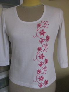 Reverse Applique Tee made to go with the Hot Pink Jeans (same embroidery pattern as on jeans pockets, but re-worked into reverse applique).