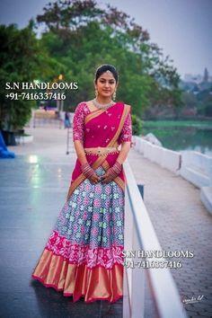 Lehenga Saree Design, Half Saree Lehenga, Pattu Saree Blouse Designs, Lehenga Designs, Saree Dress, Anarkali, Pink Half Sarees, Ikkat Dresses, Half Saree Designs