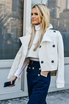 Ultra chic in a crisp crop and highwaisted trousers.