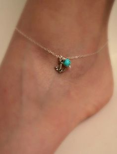 Gold Anchor anklet with Turquoise