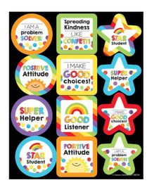 Reward a job well done with motivational stickers. The Celebrate Learning motivational stickers feature positive messages such as: Star Student I am A Problem Solver I Make Good Choices Teacher Stickers, Reward Stickers, Perfect Attendance Certificate, Emotions Preschool, Student Rewards, Teacher Awards, Learning English For Kids, Welcome To School, Teaching Skills