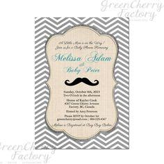 Mustache Baby Boy Shower Invitation - Mustache Shower Invite Birthday Gray Chevron Twin Retro Vintage - Printable No.124