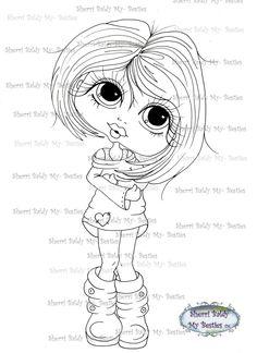 INSTANT DOWNLOAD Digi Stamps Big Eye Big Head Dolls Digi Bestie img469 By Sherri Baldy by SherriBaldy on Etsy https://www.etsy.com/listing/213474677/instant-download-digi-stamps-big-eye-big