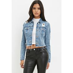 Forever 21 Destroyed Denim Jacket ($30) ❤ liked on Polyvore featuring outerwear, jackets, blue jackets, distressed jean jacket, forever 21 jacket, light weight jacket and lightweight denim jacket