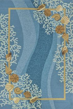 Homefires Shell Blue Area Rug