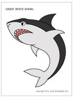 Free printable sharks to color and use for crafts and other learning activities.