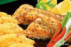 Mézes-mustáros lazac fűszeres-hagymás tört burgonyával - Vidék Íze Food And Drink, Low Carb, Meat, Chicken, Healthy, Health, Cubs