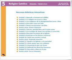Recursos Interactivos Anaya. Religión de 5º de Primaria. (Abre la puerta) Religion Catolica, Anaya, Editorial, How To Be Happy, Teaching Resources, Bible