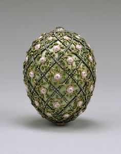 Fabrege egg. These started as an Easter tradition for Russian royalty in 1885.