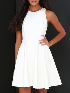 Shop White Round Neck Sleeveless Flare Dress online. SheIn offers White Round Neck Sleeveless Flare Dress & more to fit your fashionable needs.