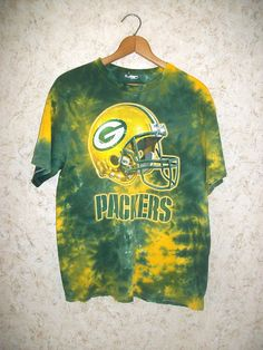 90s Tie Dye Green Bay Packers Graphic T Shirt Crewneck 1990s Retro Football  Tee Short Sleeves Hipster Green Gold Unisex Mens Large d245f6c8d