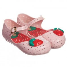 Mini Melissa - Pale Pink Jelly Shoes with Strawberry | Childrensalon