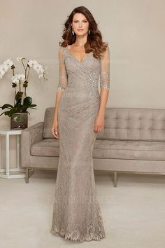 Sheath/Column V-neck Sweep/Brush Train Lace Mother of the Bride Dress