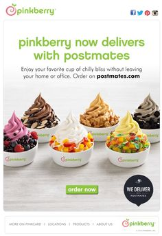 Pinkberry starts delivery with Postmates