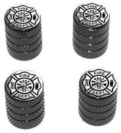 "(4 Count) Cool and Custom ""Diamond Etching Fire Department Logo Top with Easy Grip Texture"" Tire Wheel Rim Air Valve Stem Dust Cap Seal Made of Genuine Anodized Aluminum Metal {Dim Mercedes-Benz Black and White Colors - Hard Metal Internal Threads for Easy Application - Rust Proof - Fits For Most Cars, Trucks, SUV, RV, ATV, UTV, Motorcycle, Bicycles}"