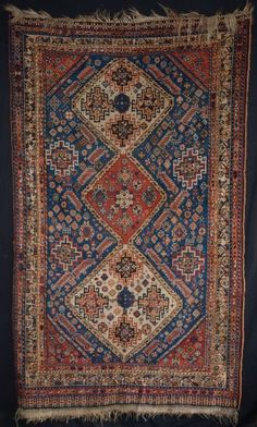 ANTIQUE SOUTH WEST PERSIAN QASHQAI RUG, SUPERB COLOUR, TRIBAL DRAWING, LATE 19TH CENTURY