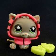 Littlest Pet Shop 1607 Sitting grey Kitten Cat LPS Toy HASBRO 2008 Tiger hoodie
