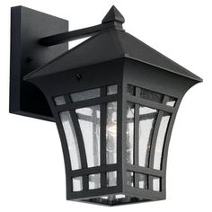 Sea Gull Lighting 8813212 Herrington 1Light Outdoor Wall Lantern with Clear Seeded Glass Black Finish >>> Check out the image by visiting the link. (Note:Amazon affiliate link)